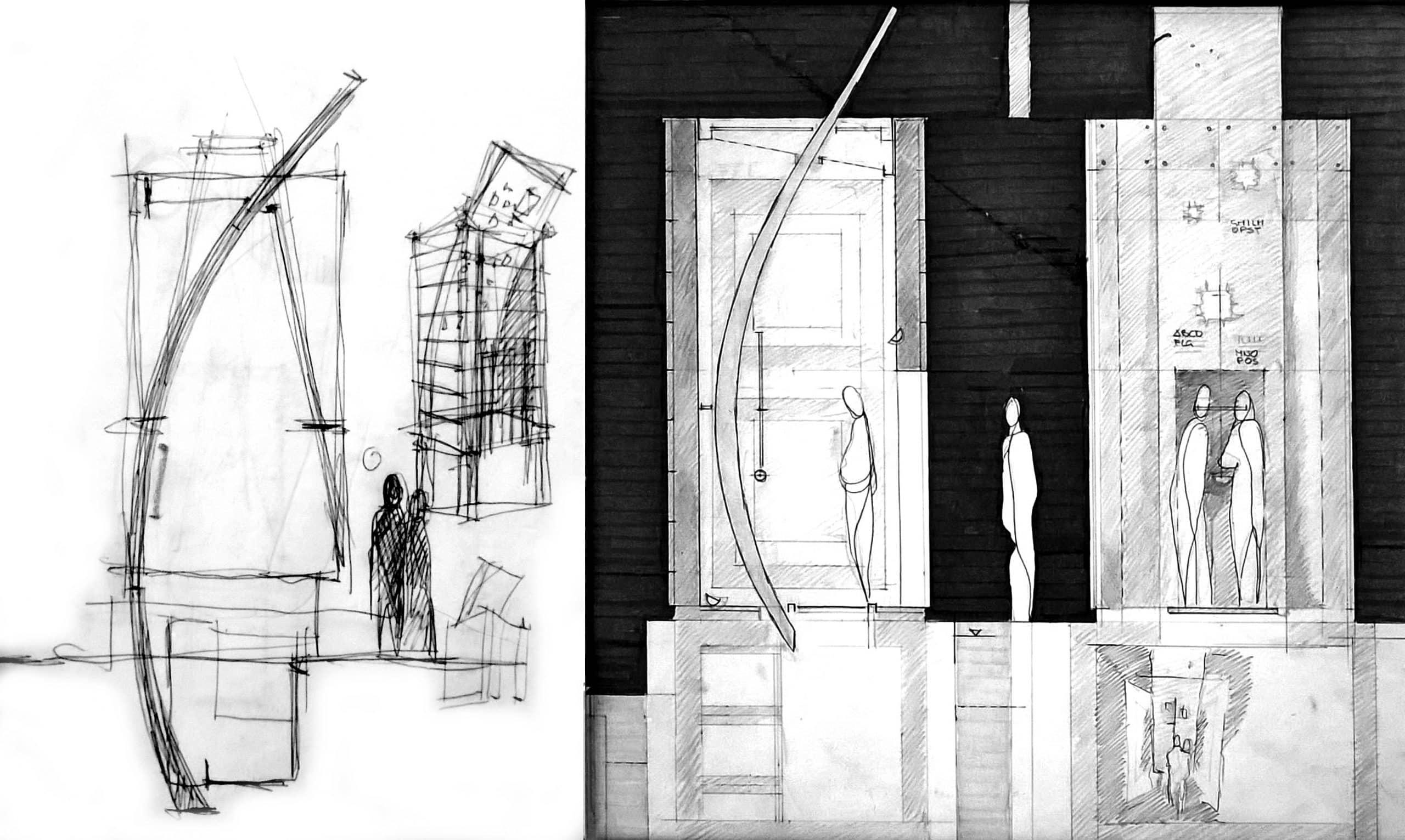 22 - Progetto di una cappella funeraria del Cimitero di S. Ponziano, Spoleto (PG) - Schizzi di studio