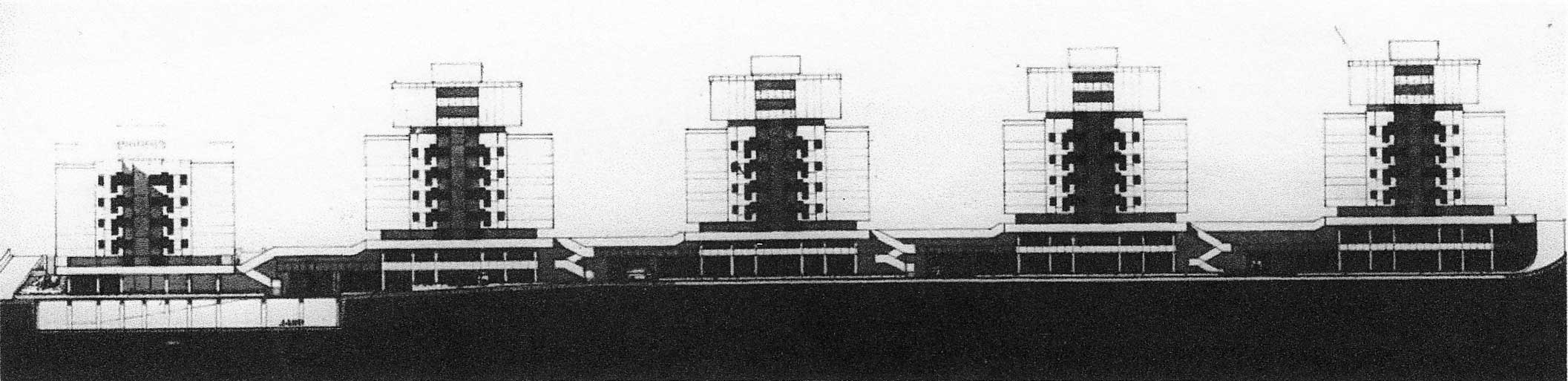 8 - Complesso residenziale di 312 alloggi a Pomezia (RM), per Imp. Lenzini - Prospetti
