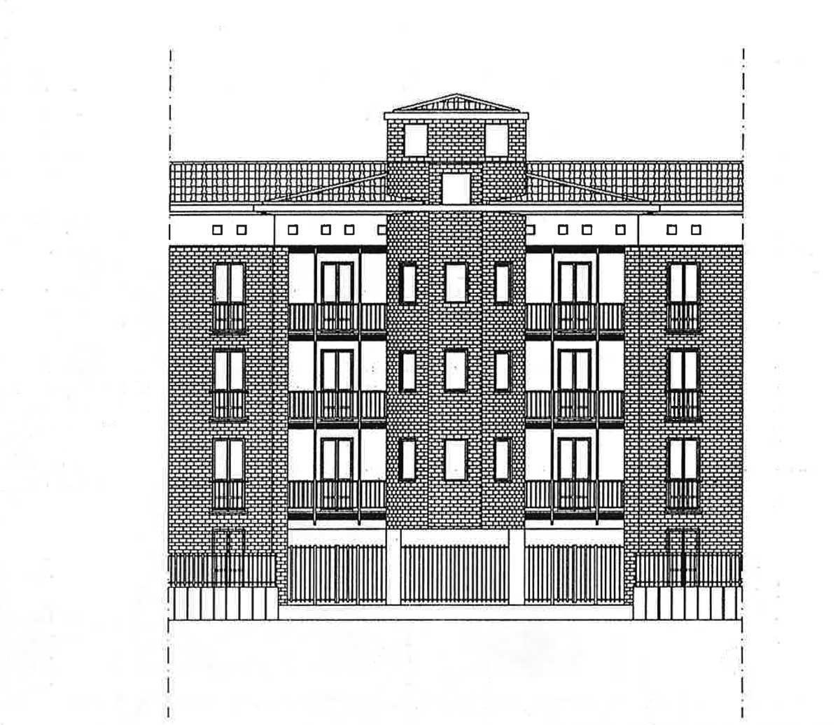 24 - Progetti di edifici IACP, Roma - Tor Vergata - Prospetto dell'edificio B-3