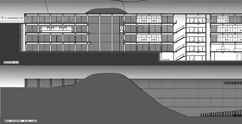 23 - Progetto del nuovo Gyeonggi-do Jeongok Prehistory Museum (Corea); con P. Verdeschi. Concorso di idee - Prospetti e sezioni