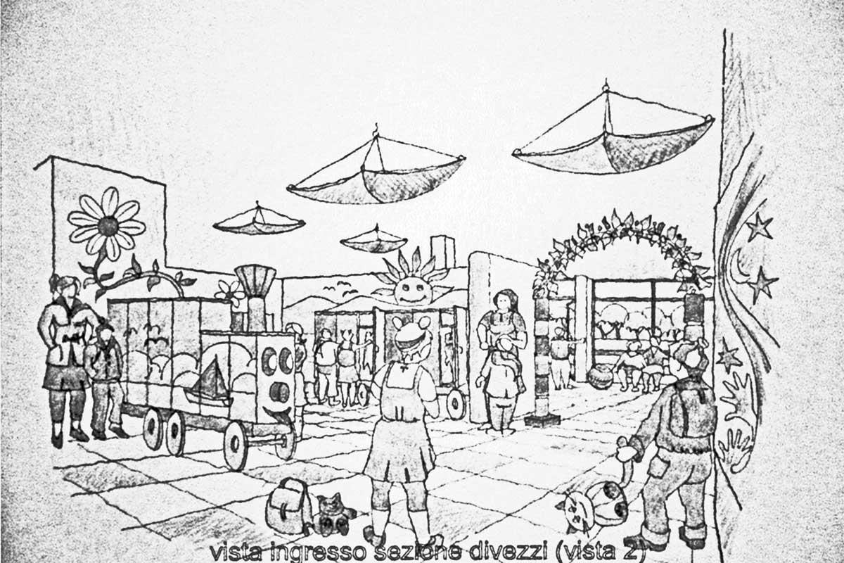 26 - Progetto di un asilo nido per i figli dei dipendenti della Regione Lazio, Roma; con L. Pagliari - Vista prospettica interna