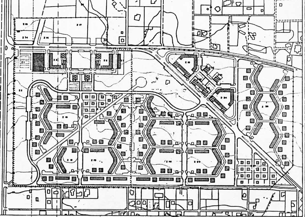 25 - Edifici residenziali e per servizi privati in via degli Strauss, Roma - Infernetto; in collaborazione - Planimetria generale