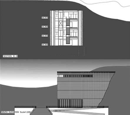 24 - Progetto del nuovo Gyeonggi-do Jeongok Prehistory Museum (Corea); con P. Verdeschi. Concorso di idee - Prospetti e sezioni