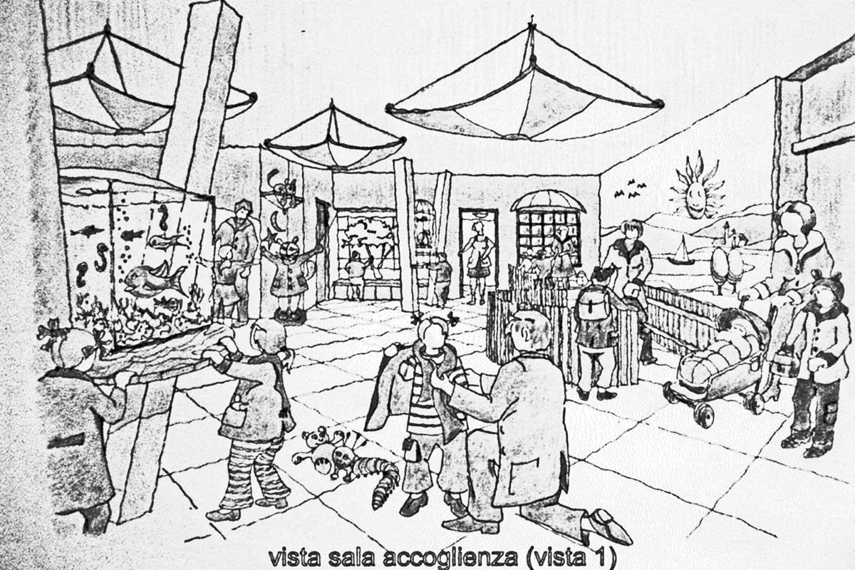 27 - Progetto di un asilo nido per i figli dei dipendenti della Regione Lazio, Roma; con L. Pagliari - Vista prospettica interna
