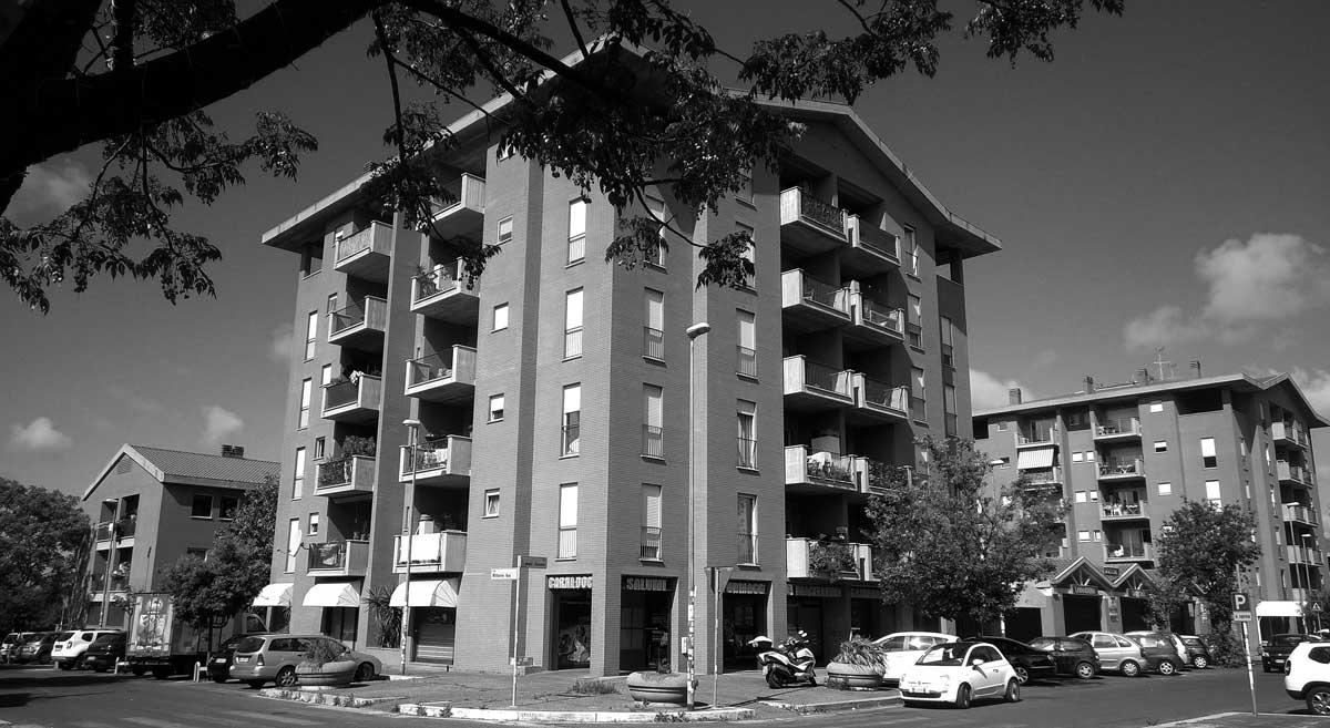 26 - Edifici residenziali e per servizi privati in via degli Strauss, Roma - Infernetto; in collaborazione - Vista esterna