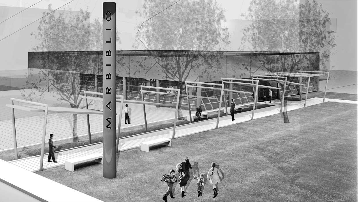 25 - Progetto della nuova Biblioteca di Maranello (MO); con B. Cerruti. Concorso di idee - Render dell'esterno