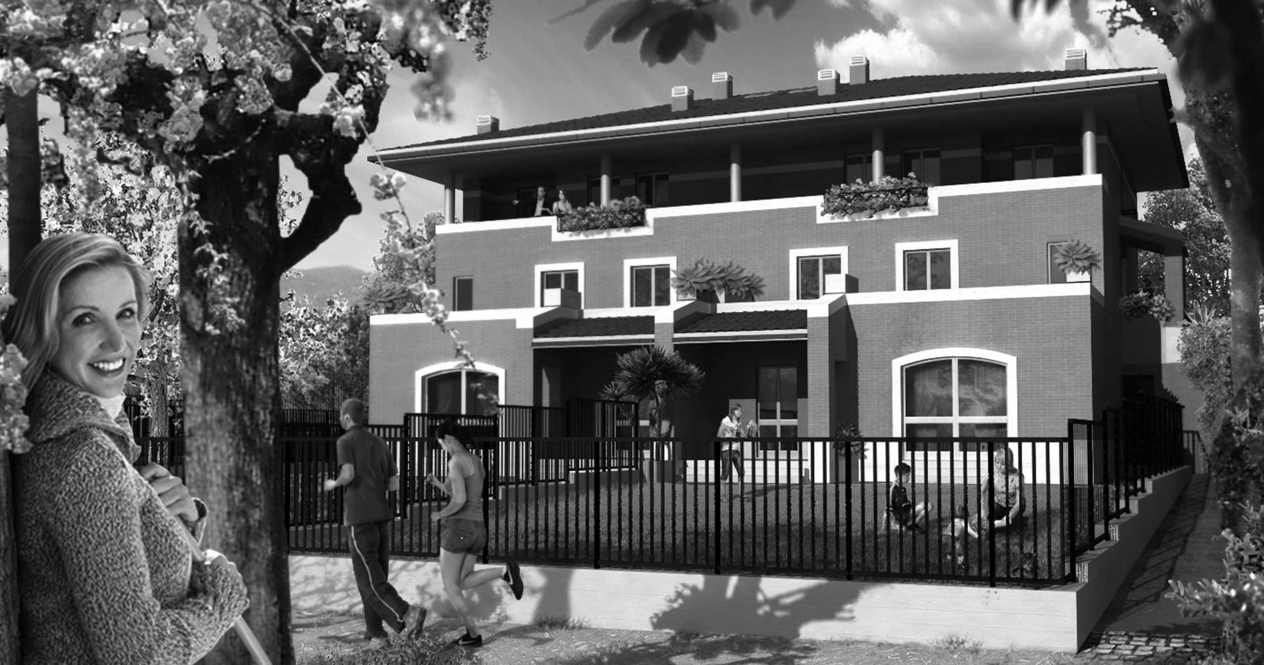 """25 - Progettazione urbanistica ed architettonica di complesso residenziale per 52 alloggi di edilizia sovvenzionata, 30 alloggi di edilizia agevolata e 110 alloggi di edilizia privata nel Piano Integrato """"Trigoria II"""" ex art. 18 legge 203/1990 in via di Trigoria, Roma. In corso di realizzazione - Vista di una delle quadrifamiliari"""