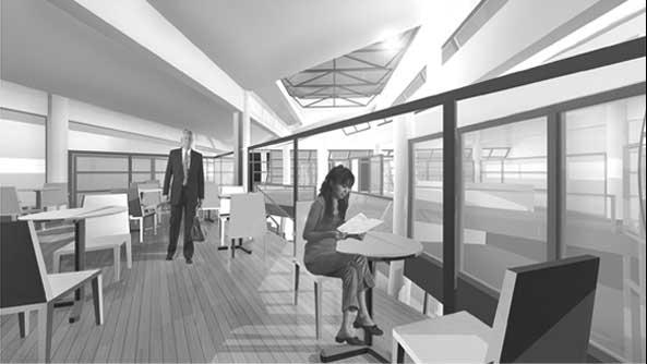 26 - Progetto della nuova Biblioteca di Maranello (MO); con B. Cerruti. Concorso di idee - Render degli spazi interni