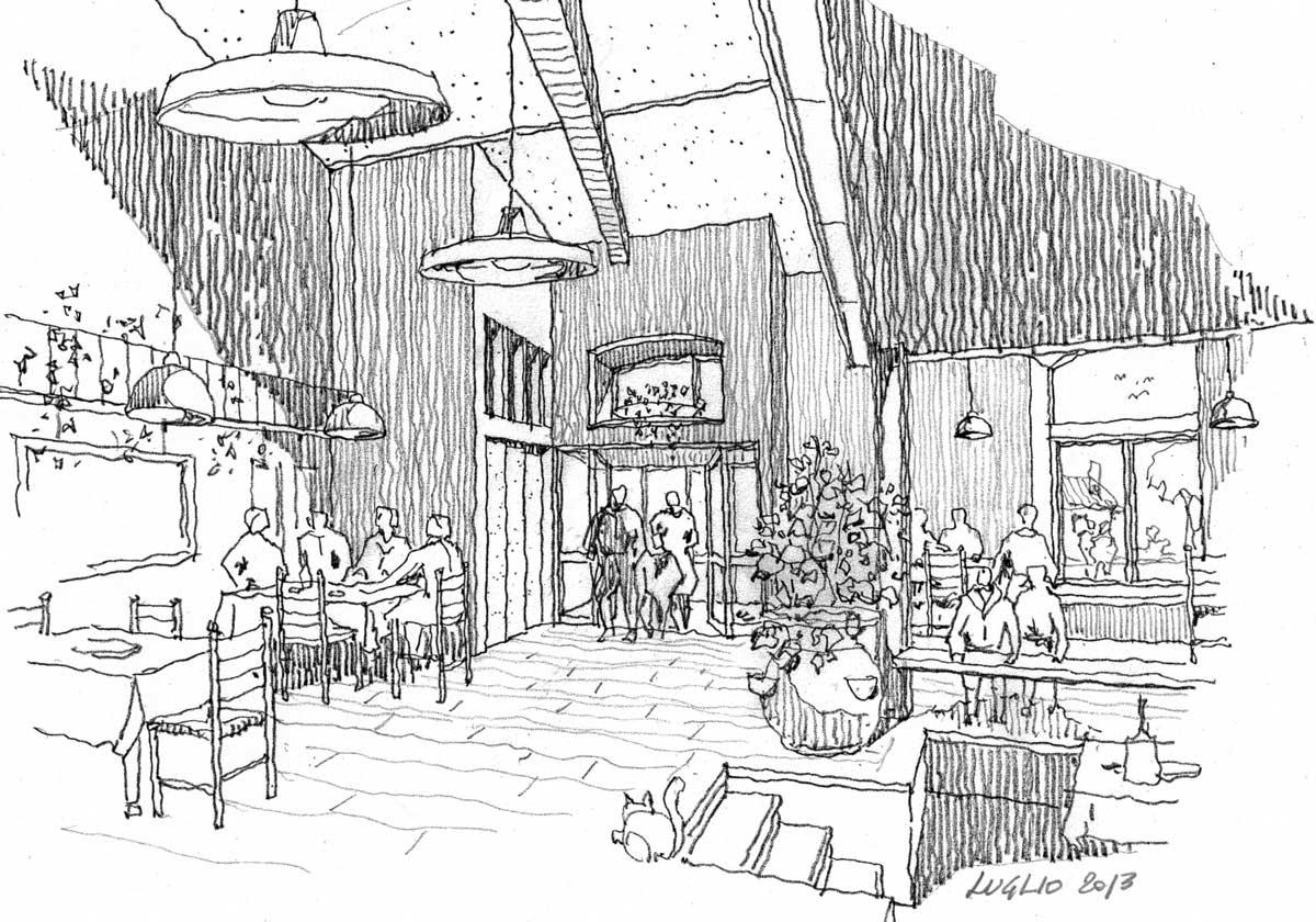 25 - Adattamento di una stalla in sala conviviale di agriturismo in loc. Arci - Passo Corese, Fara in Sabina (RI) - Vista prospettica interna