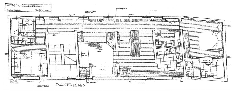 30 - Arredamento di casa-studio M. G. in via Margutta, Roma; con E. Monti - Pianta