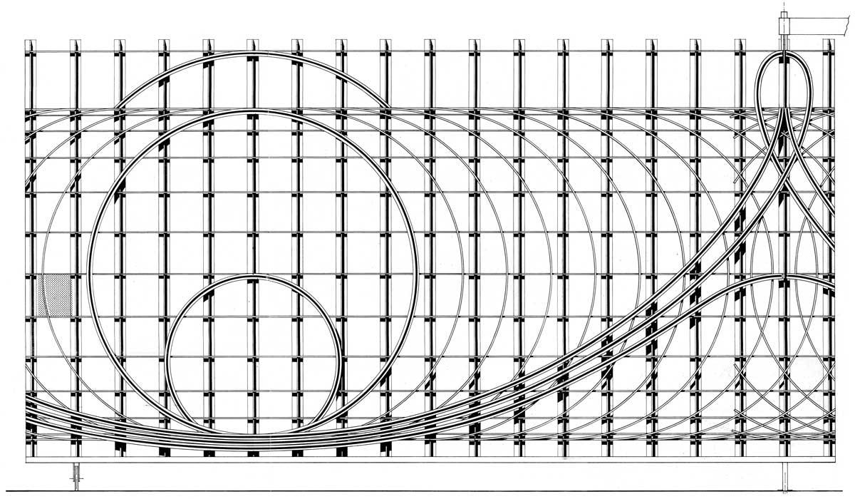 2 - Sistemazione del piazzale d'ingresso di un maniero: cancellata sviluppata sulle curve cicloide ed evolvente - Prospetto