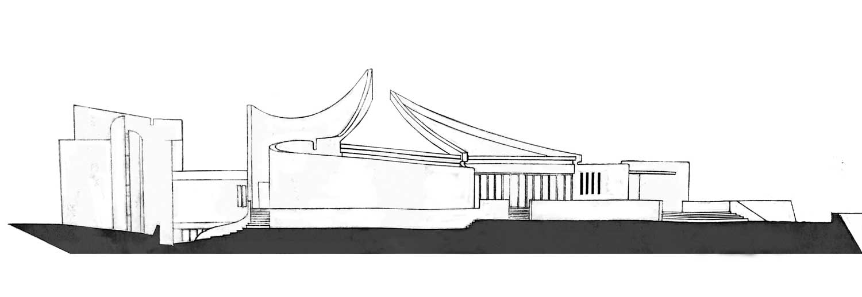 2 - Progetto di un nuovo centro parrocchiale nella Diocesi di Roma. Concorso - Prospetto