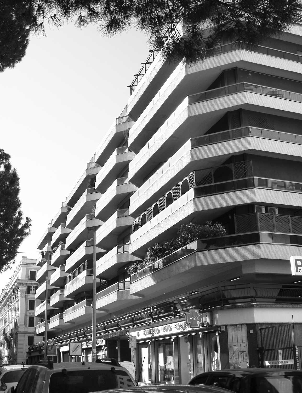2 - Complesso per uffici, abitazioni e negozi in corso Trieste a Roma, per Soc. FATA; con ing. L. Del Bufalo - Vista esterna