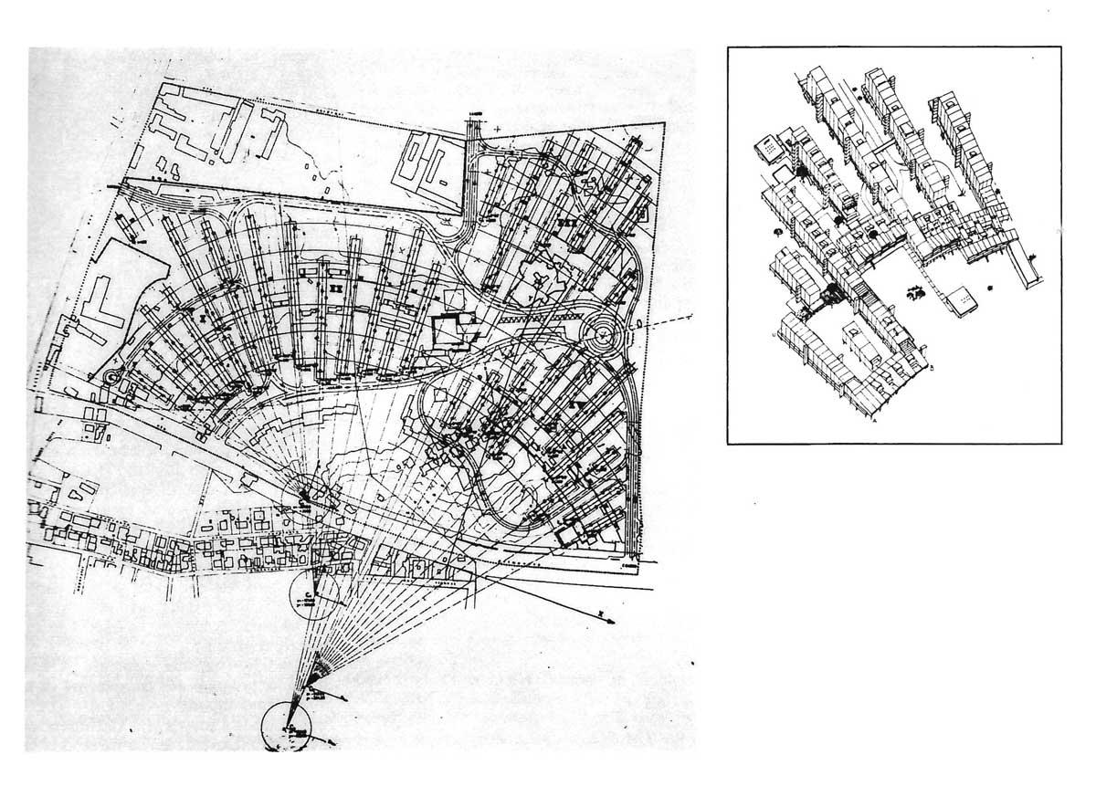 2 - PdZ 167 n. 23 Casilino, Roma; con Studio Ludovico Quaroni - Planimetria e schema assonometrico aggregativo