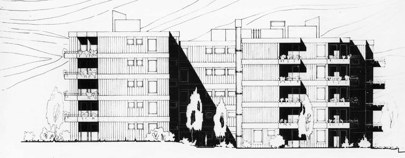 1 - Unità residenziale di 16 appartamenti in via G. Valmarana, Roma, per Gruel Srl - Prospetto