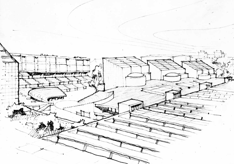3 - Progetto di liceo ginnasio, istituto d'arte ed abitazioni su un'area adiacente Palazzo dei Diamanti, Ferrara; con AUA. Concorso, II classificato - Vista prospettica