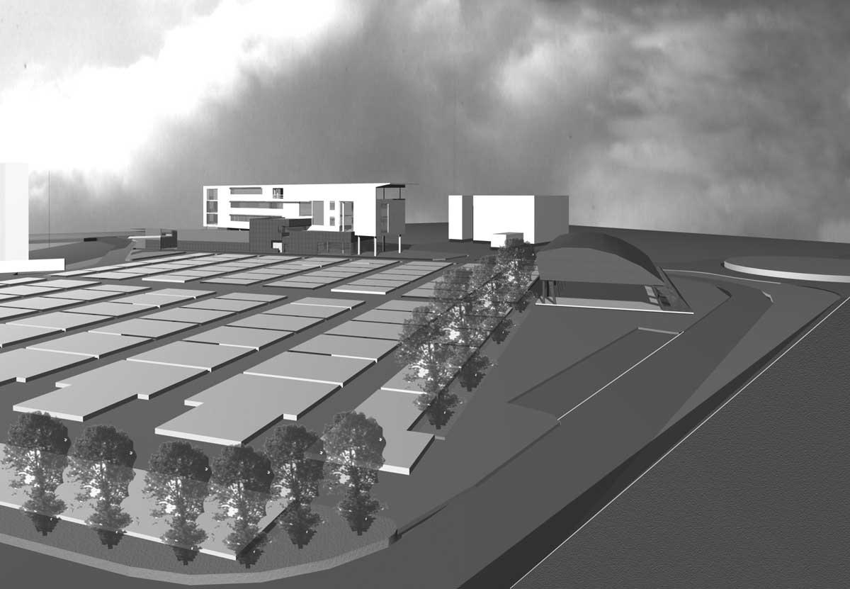 31 - Progetto di un centro servizi pubblici e privati in via M. Sironi, Ladispoli (RM), in project financing; in collaborazione - Render