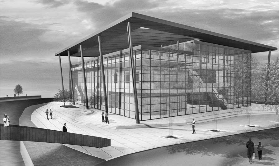 29 - Progetto del Cultural Centre a Northwich (GB); con B. Cerruti. Concorso di idee - Render dell'esterno