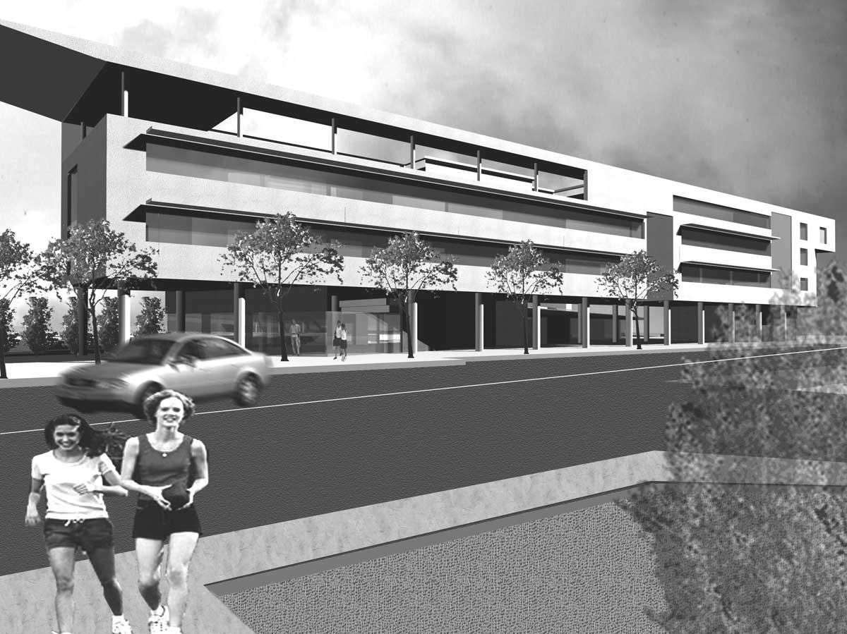 32 - Progetto di un centro servizi pubblici e privati in via M. Sironi, Ladispoli (RM), in project financing; in collaborazione - Render