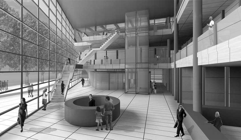30 - Progetto del Cultural Centre a Northwich (GB); con B. Cerruti. Concorso di idee - Render dello spazio interno