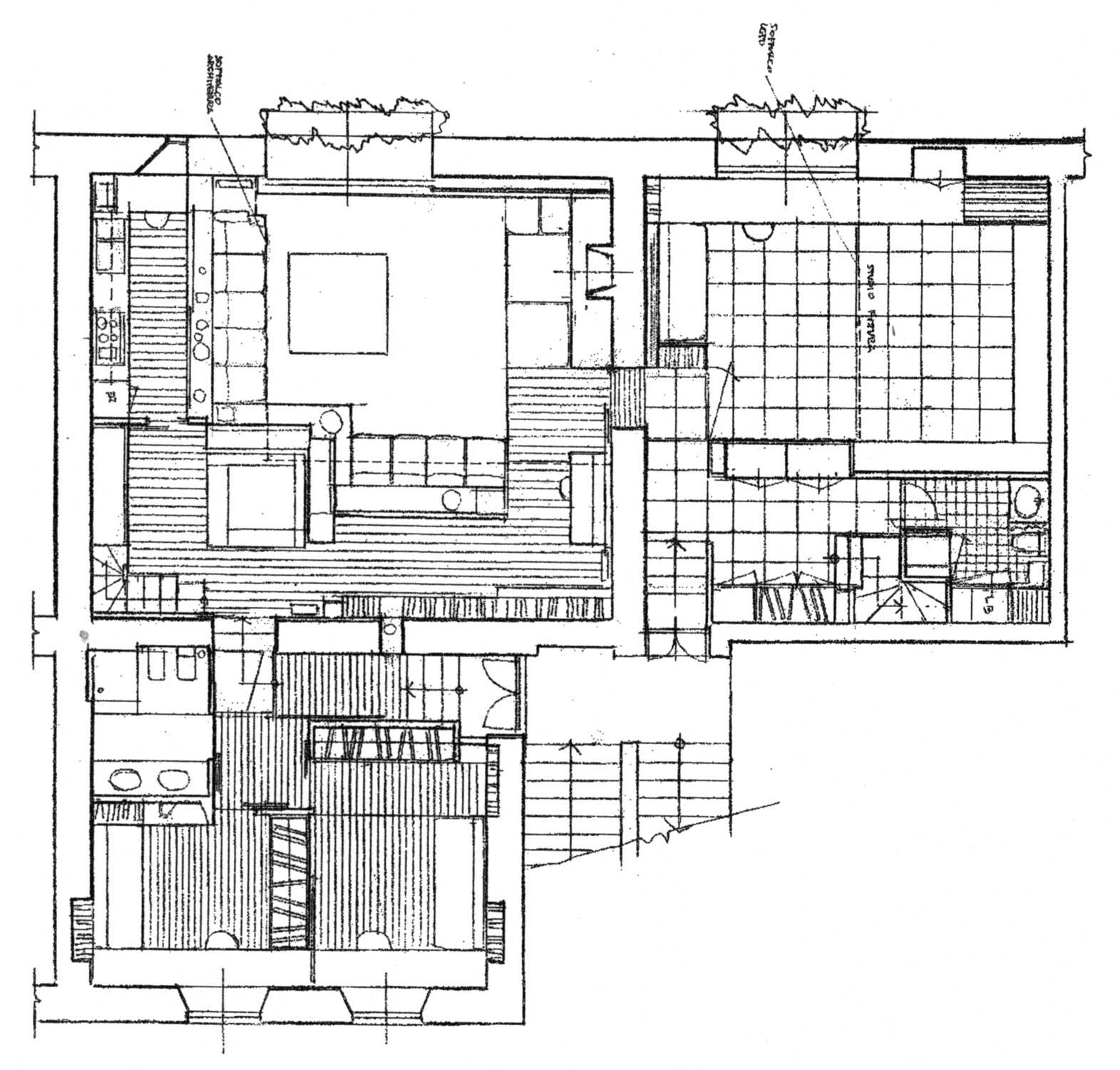 33 - Arredamento di casa-studio M. G. in via Margutta, Roma; con E. Monti - Pianta