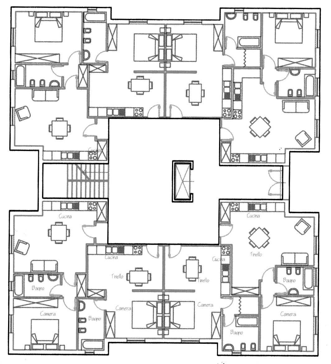 18 - CdQ, Quartiere 3 - Rione Rancitelli, Pescara; con D. Bugiani, G. Di Cristina, R. Mascetta e D. Tronca - Pianta edificio B