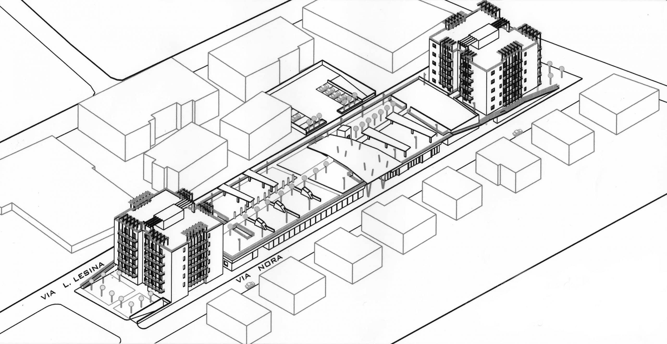 18 - CdQ, Quartiere 3 - Rione Rancitelli, Pescara; con D. Bugiani, G. Di Cristina, R. Mascetta e D. Tronca - Vista assonometrica