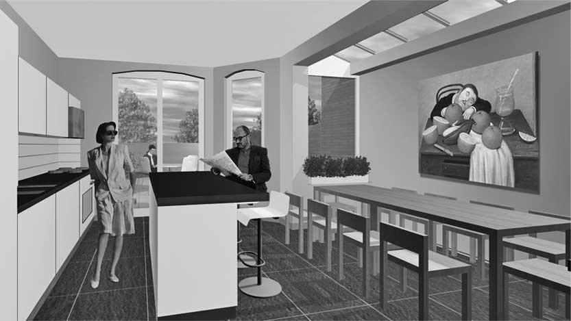 32 - Ristrutturazione di casa unifamiliare in 40 Finstock Road, Londra W10 (GB) - Render degli spazi interni