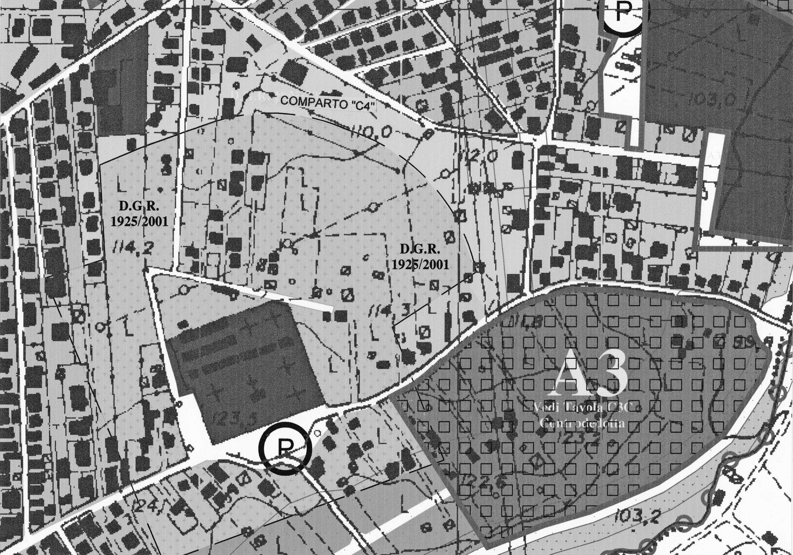19 - Progetto del Comparto C4 del PRG di Monterotondo (RM) in loc. Tufarelle; con P. Lacorte - Stralcio del PRG