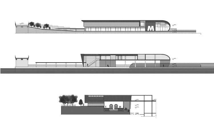 35 - Progetto della fermata Malafede della linea ferroviaria Roma - Lido; in collaborazione - Prospetto e sezioni