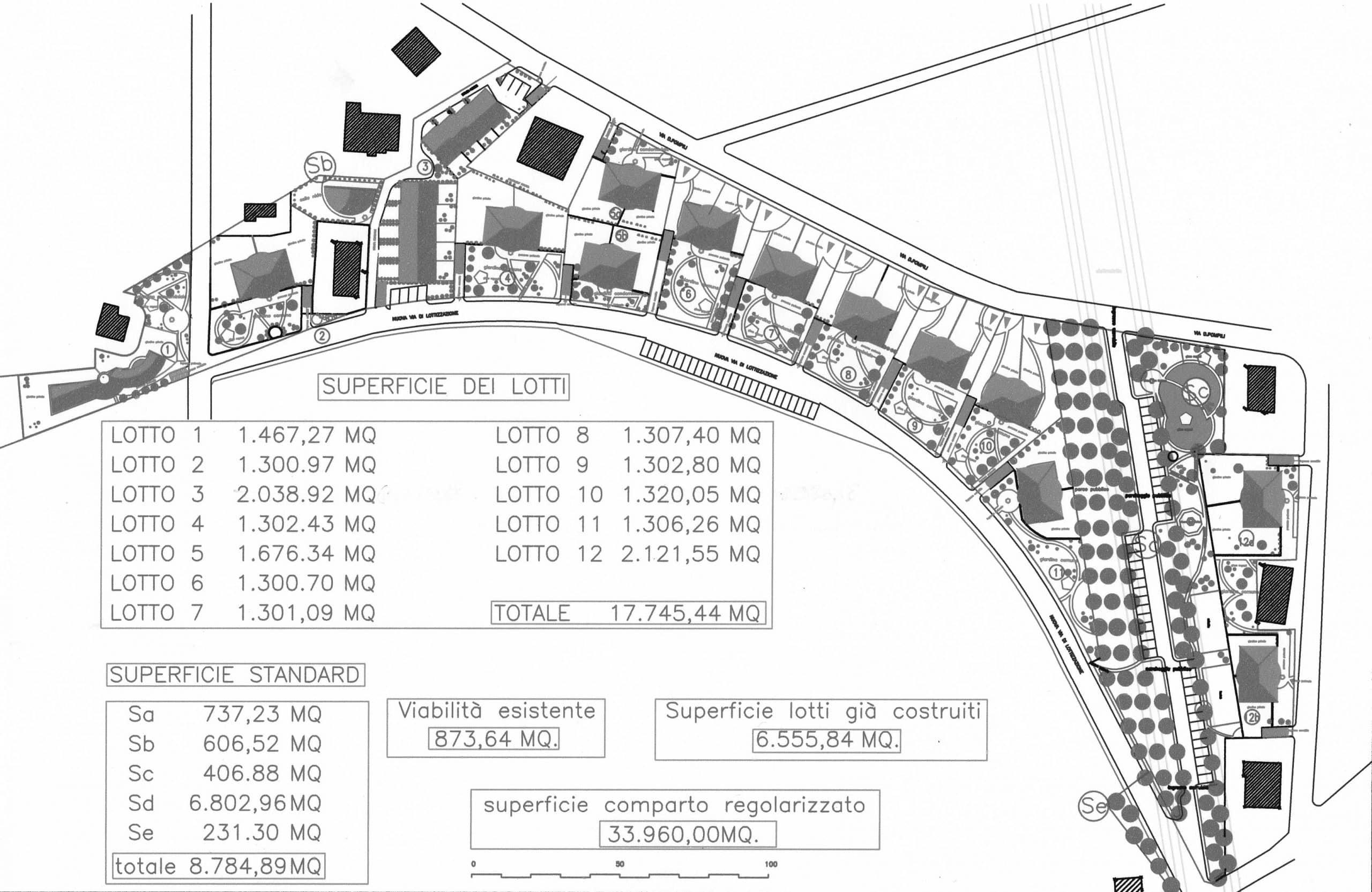 20 - Progetto del Comparto C4 del PRG di Monterotondo (RM) in loc. Tufarelle; con P. Lacorte - Planimetria generale