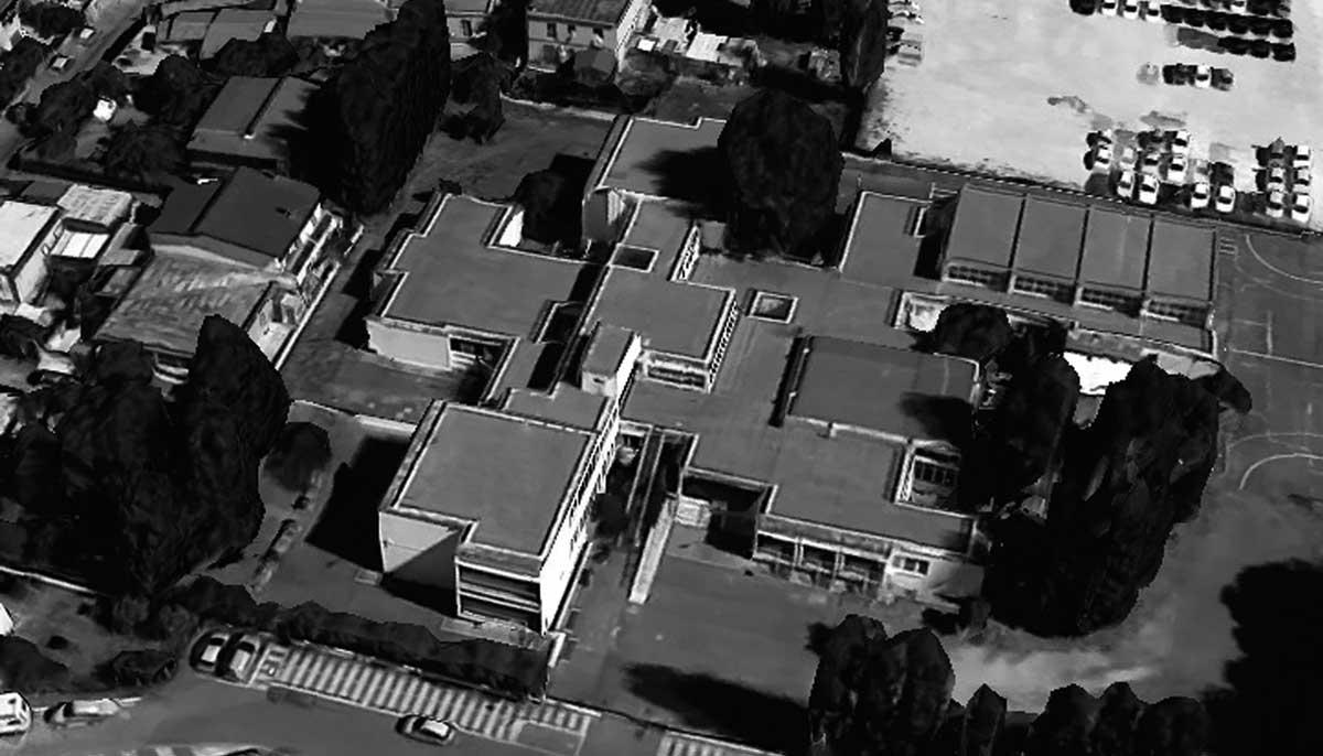 3 - Complesso scolastico in via dei Mitili a Fiumicino (RM), per Comune di Roma; con C. Canci e E. Mola - Vista aerea