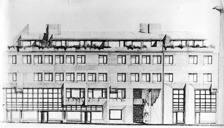 4 - Edificio a destinazione mista residenziale e commerciale ad Ascoli Piceno; con V. Quilici - AUA. Premio IN/ARCH Marche 1969 - Prospetto