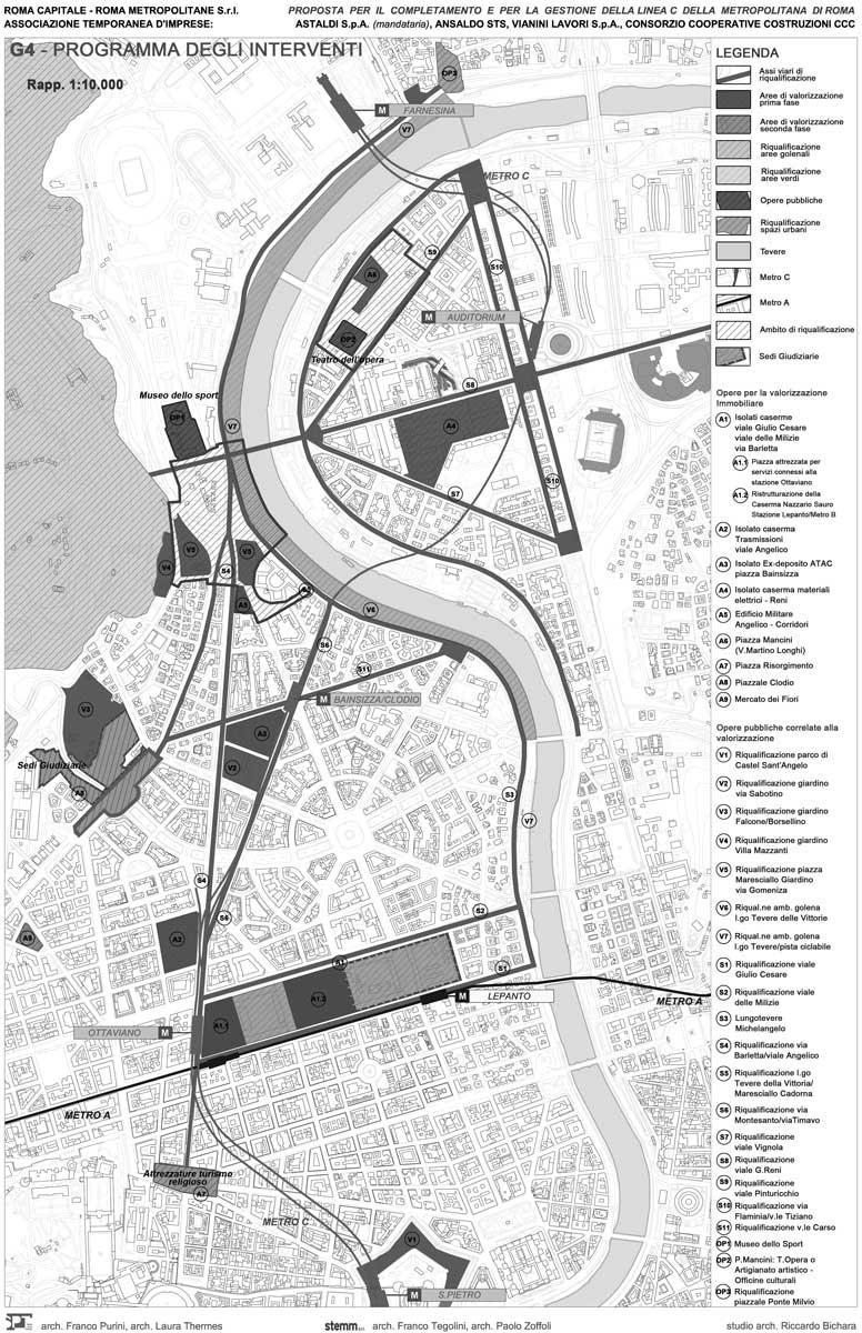 43 - Studio tecnico-economico per il completamento della Metro C di Roma da piazza Venezia alla Farnesina; con Studio STEMM e Studio Purini - Thermes - Planimetria del programma degli interventi