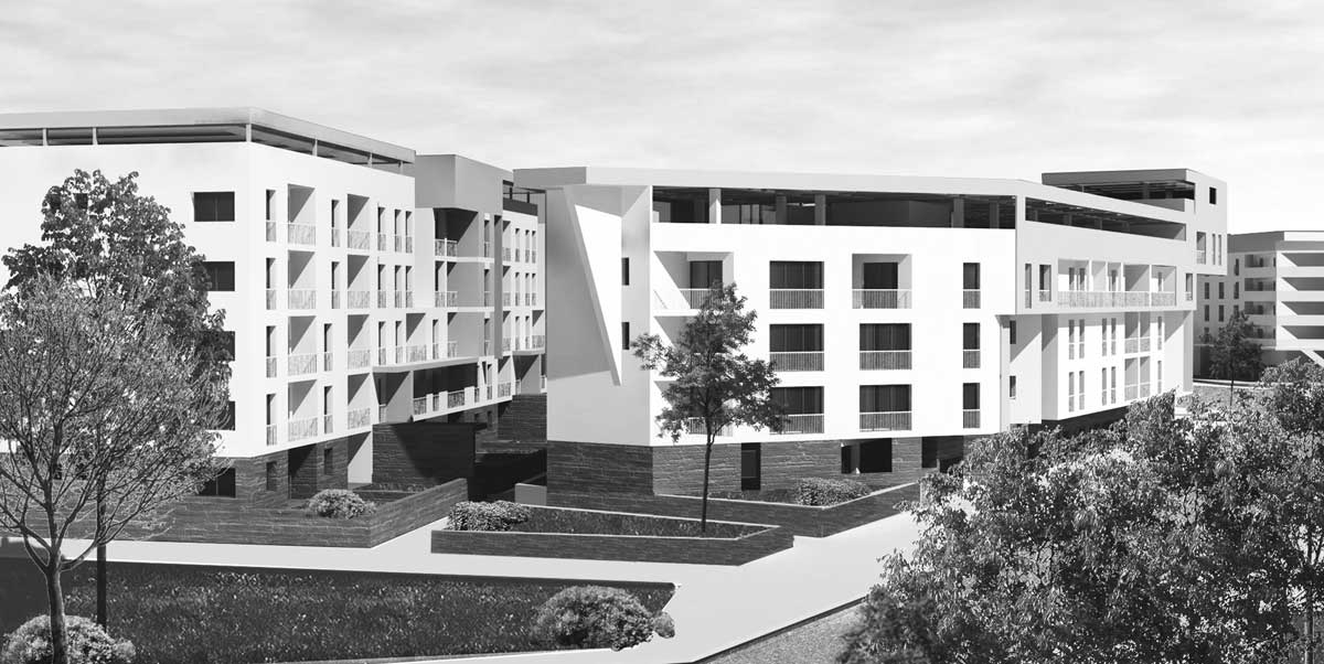 45 - Progetto di un quartiere residenziale da destinare ad housing sociale, Roma - Pietralata; in collaborazione. Bando di Roma Capitale - Render