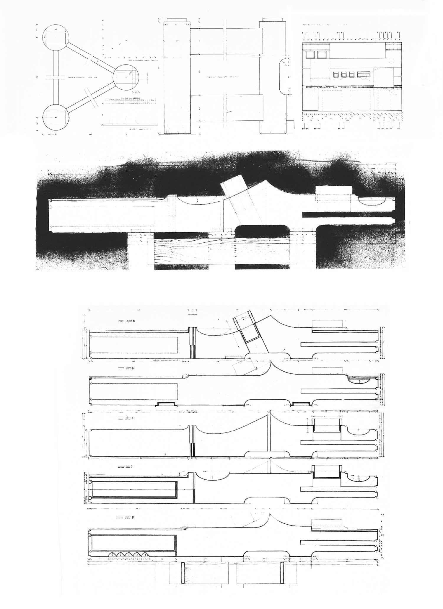 4 - Prototipo di scrivania a sezione variabile in cirmolo per la Fiera del Mobile di Milano - Pianta, sezioni e prospetti
