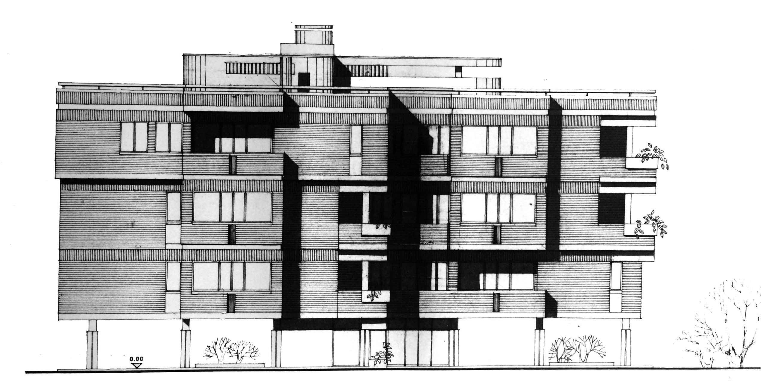 4 - Edificio residenziale per 9 alloggi nel PdZ Roma - Casal dei Pazzi; con R. De Vito - Prospetto nord-est