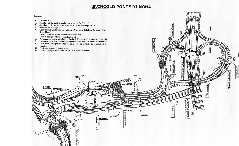 5 - Comprensorio convenzionato E1 Ponte di Nona, Roma, per Consorzio Ponte di Nona - Planimetria dello svincolo stradale di Ponte di Nona