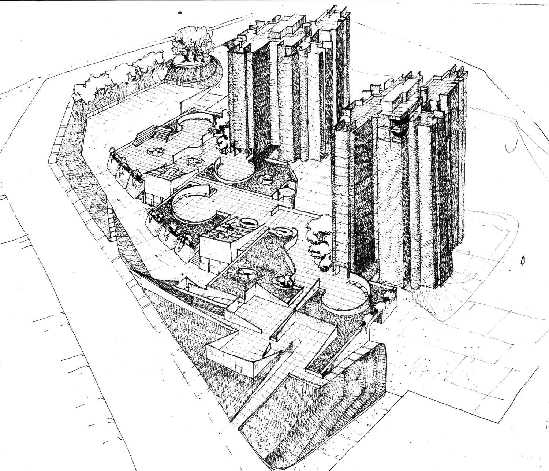 7 - Edifici a torre per complessivi 112 alloggi nel PdZ Cesura Le Grazie, Terni, per Coop. Astra; progetto CoPER - Vista assonometrica