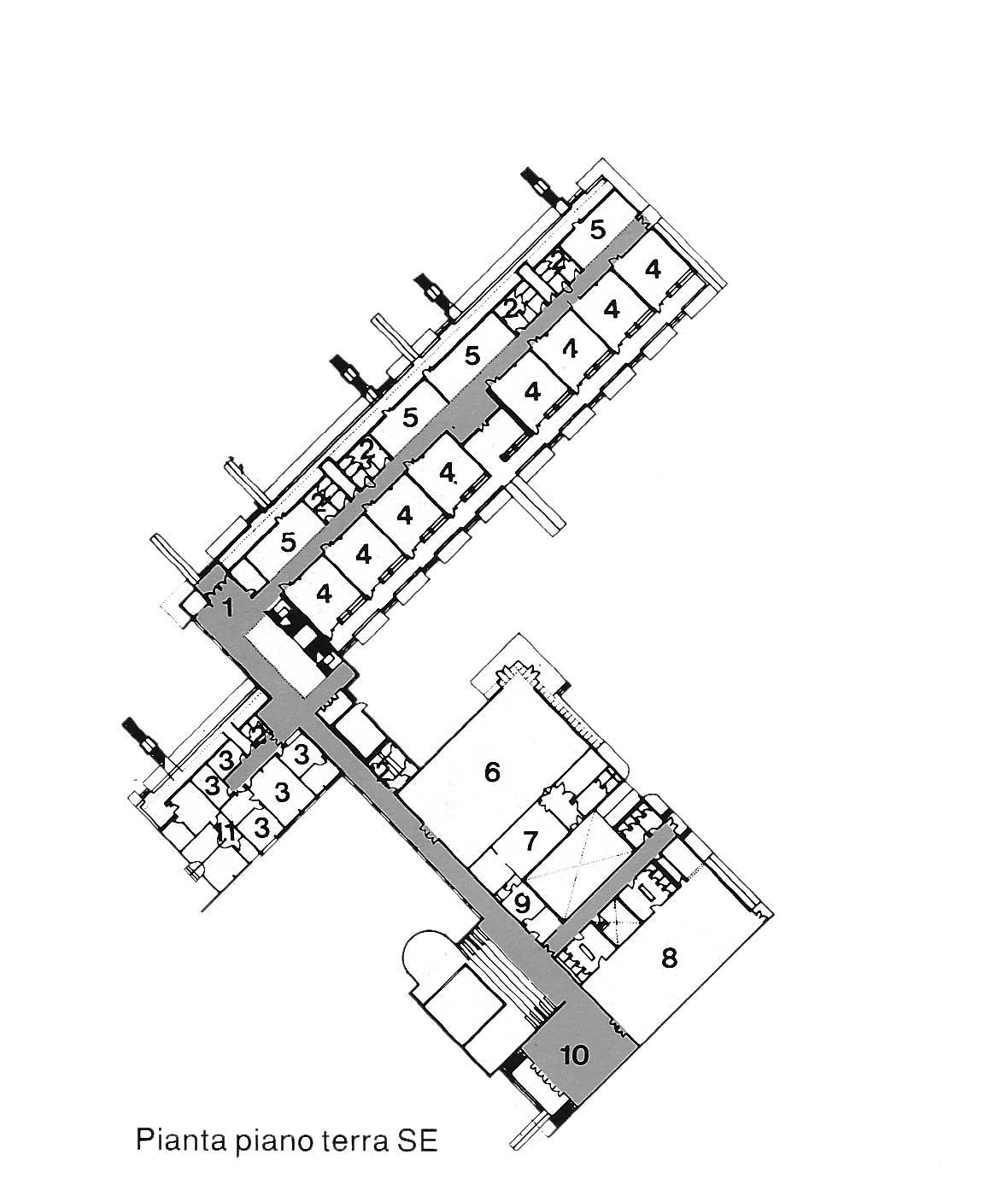 6 - Plessi scolastici nel PdZ 167 di Tor Bella Monaca, Roma; con N. Campanini, D. Ciaffi, F. W. Facilla, R. Giuffrè -  Scuola elementare comparto 7: pianta piano terra