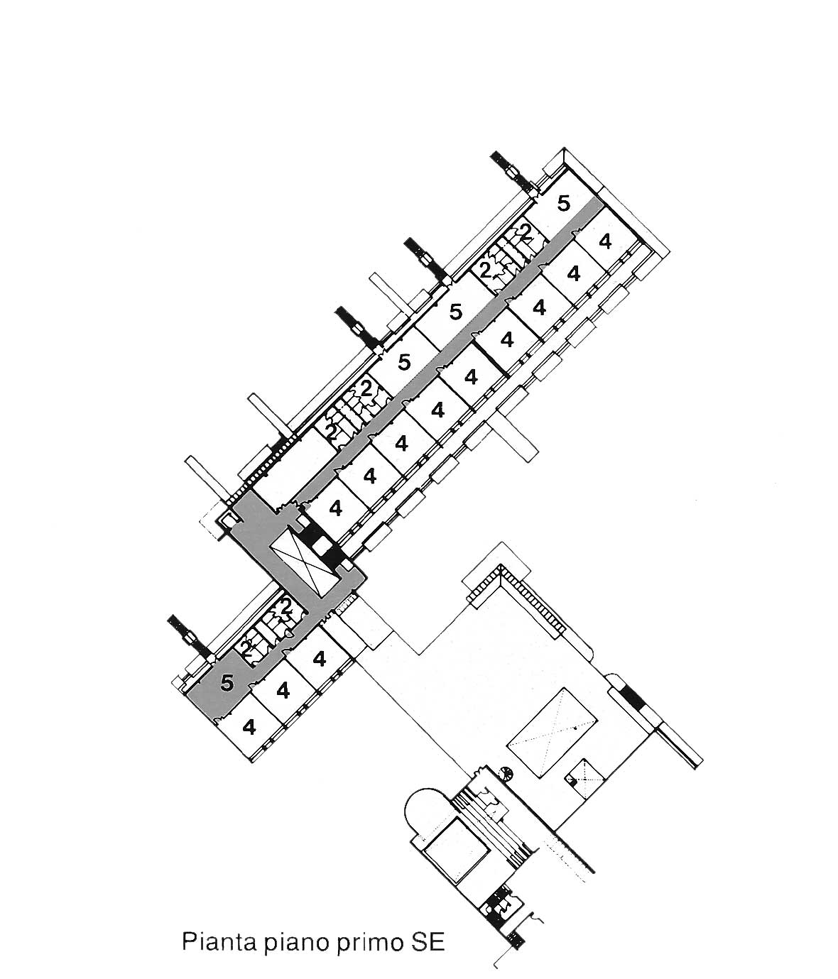 7 - Plessi scolastici nel PdZ 167 di Tor Bella Monaca, Roma; con N. Campanini, D. Ciaffi, F. W. Facilla, R. Giuffrè - scuola elementare comparto 7: pianta piano primo
