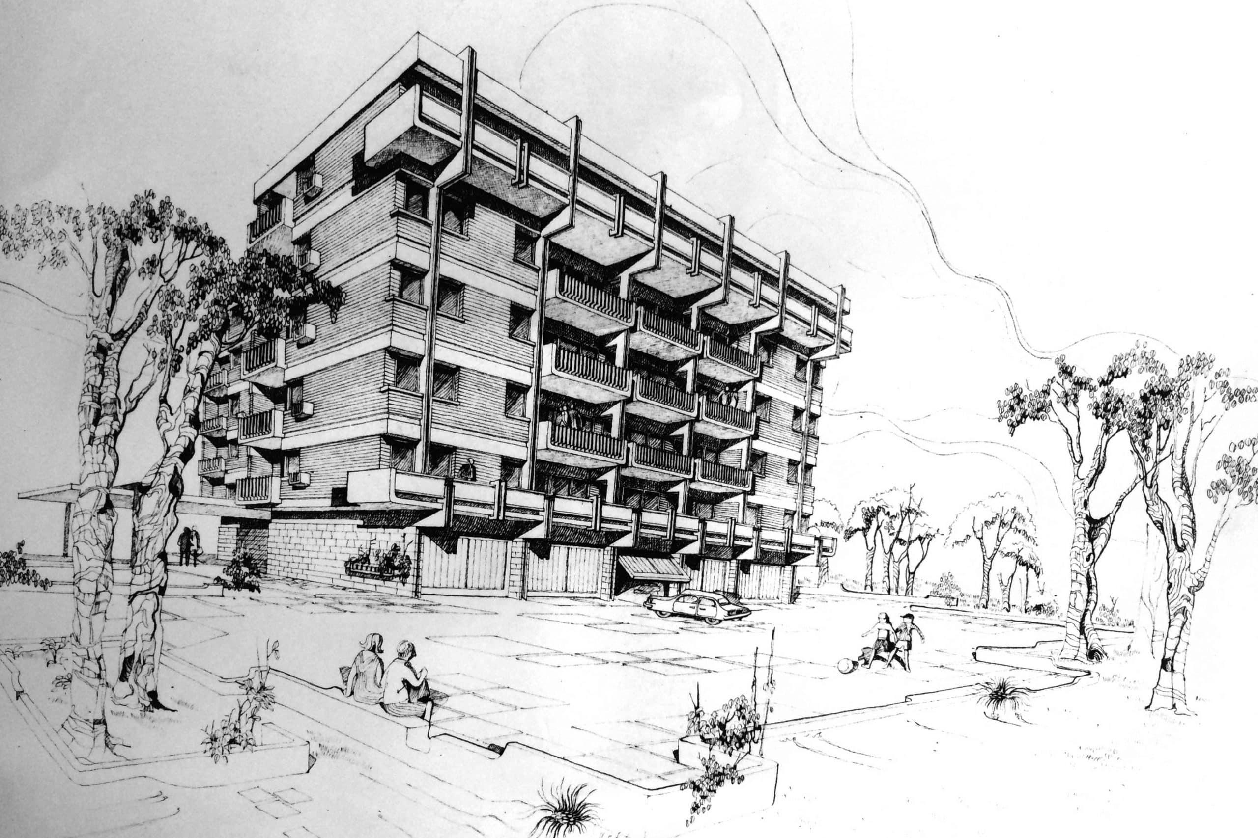7 - Complesso di tre edifici residenziali per 60 alloggi in via Testa, Isernia; con R. De Vito - Vista prospettica