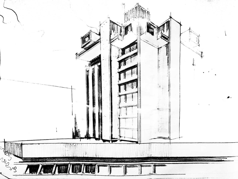 7 - Progetto di un edificio a torre a Teheran (Iran) - Vista prospettica