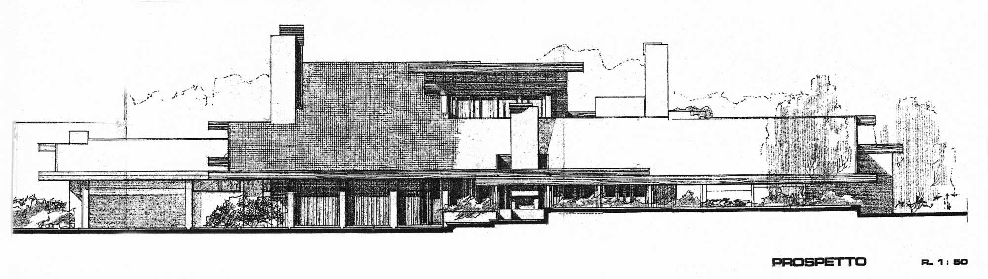 8 - Villa Grazzini in via Viggiano, Roma; con E. Monti - Prospetto