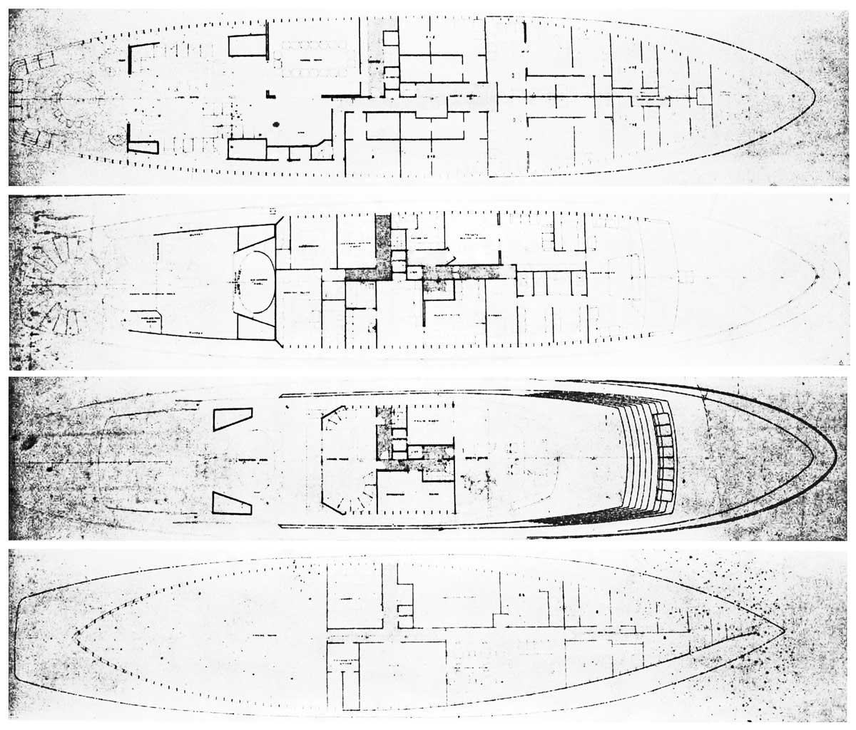 8 - Progetto di massima di un motoryacht da 80m, progetto esecutivo Banemberg Ltd - London; realizzato da Cantieri Benetti - Viareggio - Piante