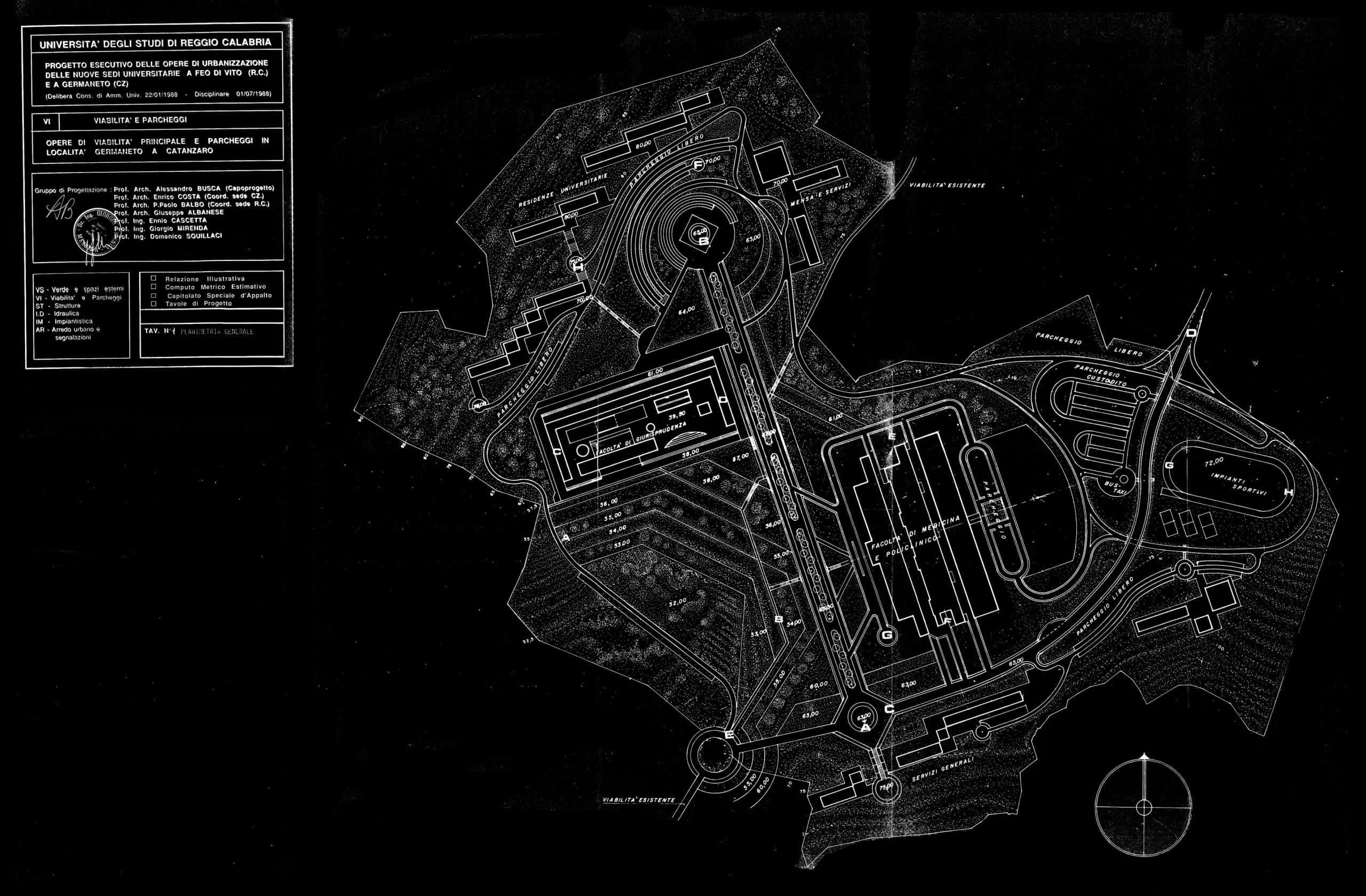 8 - Progetto esecutivo delle opere di urbanizzazione delle nuove sedi universitarie di Feo di Vito (RC) e di Germaneto (CZ); capogruppo, con G. Albanese, P. P. Balbo, E. Cascetta, E. Costa, G. Mirenda e D. Squillaci - Planimetria generale