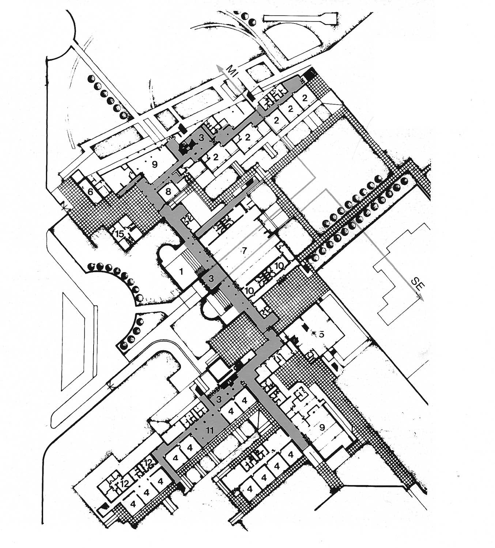 9 - Plessi scolastici nel PdZ 167 di Tor Bella Monaca, Roma; con N. Campanini, D. Ciaffi, F. W. Facilla, R. Giuffrè - scuola elementare e media comparto 15: pianta piano terra