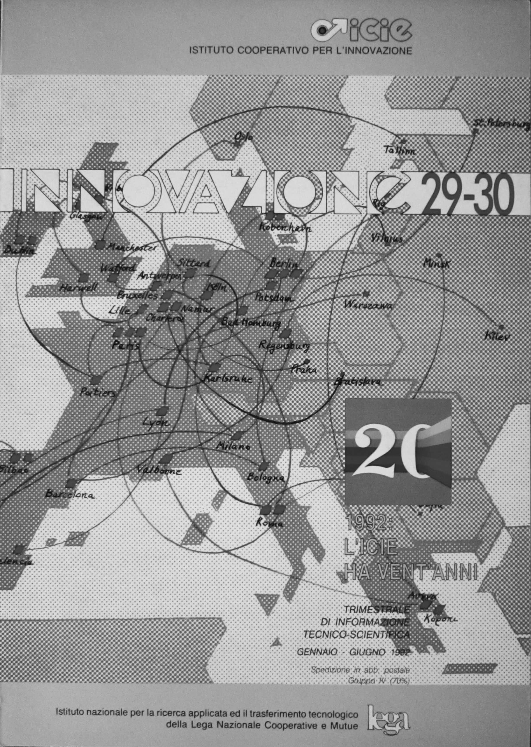"""9 - """"Ricerca e innovazione di fronte a una congiuntura difficile"""", in Innovazione 29-30, 1992: l'ICIE ha vent'anni, Roma - Copertina"""