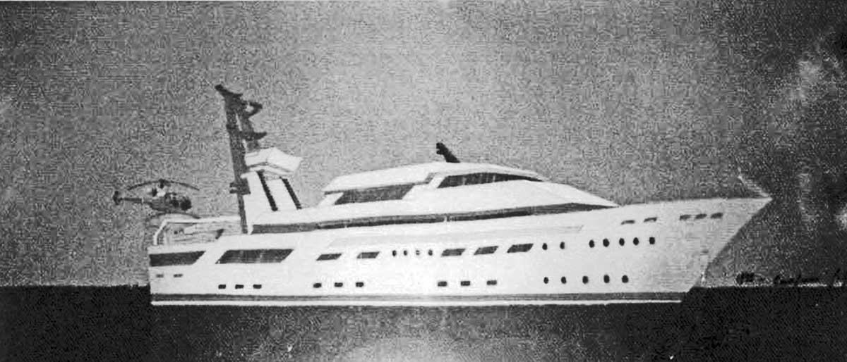 9 - Progetto di massima di un motoryacht da 80m, progetto esecutivo Banemberg Ltd - London; realizzato da Cantieri Benetti - Viareggio - Prospetto