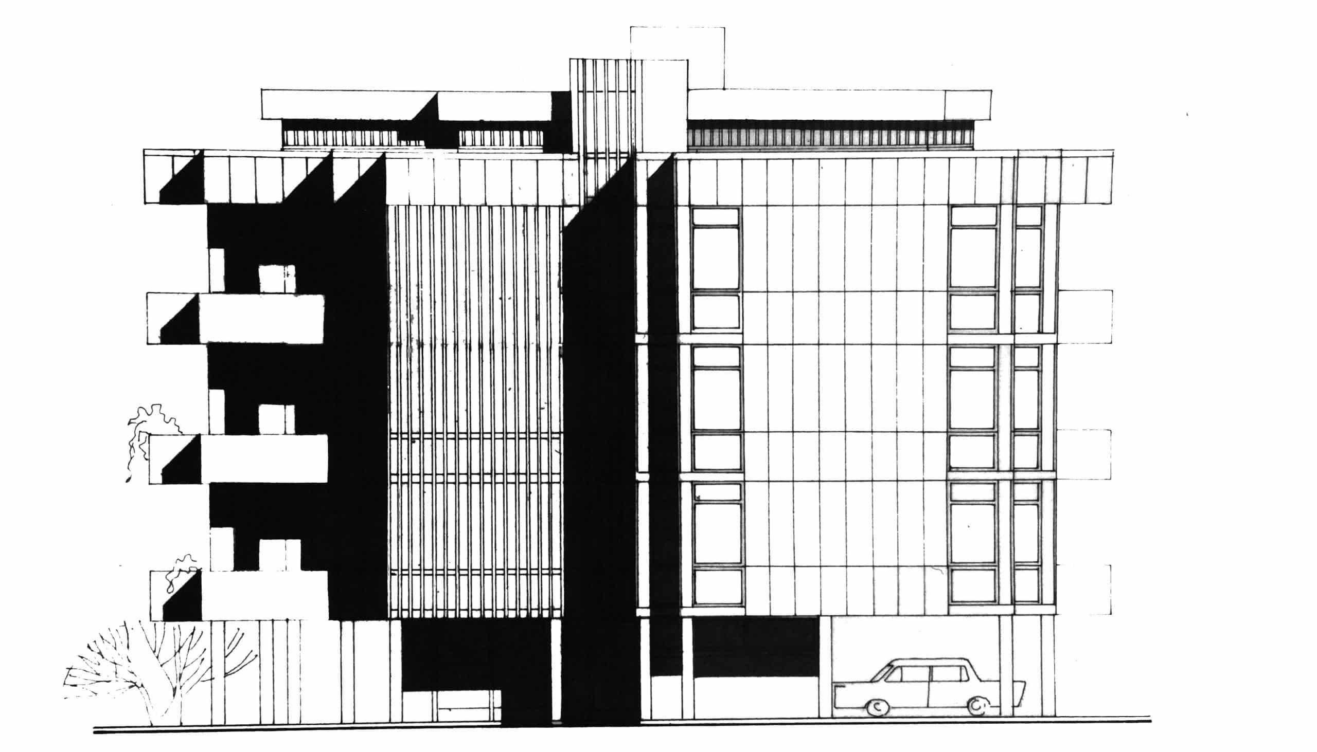 9 - Complesso di due edifici residenziali per 12 alloggi nel PdZ Roma - Casal dei Pazzi; con R. De Vito - Prospetto nord-est